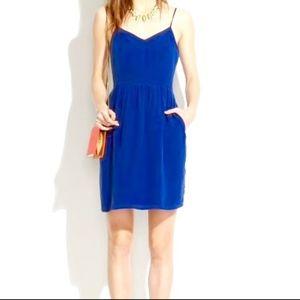 Madewell Blue 100% Silk Cami pocket Dress NWOT
